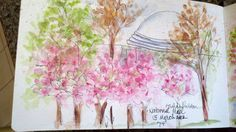 National Museum of Art, DC. The Cherry Blossoms are in bloom! Watercolor Journal, Tisha Sheldon