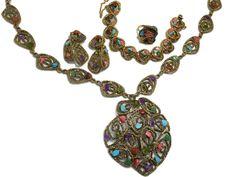 Vtg Swoboda Necklace Earrings Bracelet Ring Semi-precious Goldtone Set Parure #Swoboda