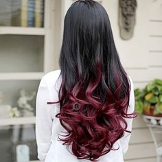 Fashion Sexy Long Wave Curly Synthetic Wig Full Hair Wigs for Party Cosplay Wedding Optional Colors Party Hairstyles For Long Hair, Face Shape Hairstyles, Wig Hairstyles, Straight Hairstyles, Fall Hair Colors, Full Hair, Long Black Hair, Ombre Hair Color, Red Ombre