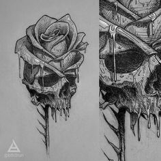 #art #tattoosketch #sketch #tattooidea #linework #fastsketch #roughdraft #skull #skullsketch #rose #rosesketch #creativeimpotence
