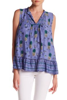 Tia Front Tassel Print Tank by BeachLunchLounge on @nordstrom_rack