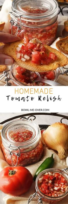 Tired of ketchup or salsa as a condiment? Homemade Tomato Relish with bright fresh flavors this will be your new favorite condiment! Relish Recipes, Canning Recipes, Vegan Recipes, Vegan Sauces, Vegan Food, Best Appetizers, Appetizer Recipes, Snack Recipes, Snacks