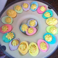Deviled eggs, Easter style.