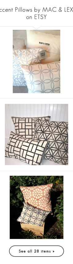 """""""Accent Pillows by MAC & LEXIE on ETSY"""" by macandlexie ❤ liked on Polyvore featuring canvas home decor, cottage home decor, silver home accessories, silver home decor, home, home decor, black home decor, mod home decor, modern home decor and modern home accessories"""