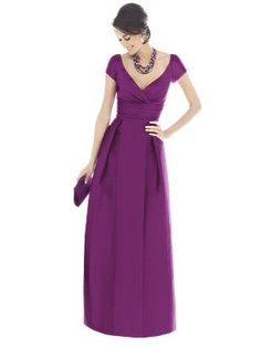 Alfred Sung (by Dessy) - Style D503 (long, peau de soie, color: paradise, pictured), D501 (long, dupioni) - peau also comes in colors majestic and italian plum, dupioni also comes in color majestic - swatches available at weddingtonway.com