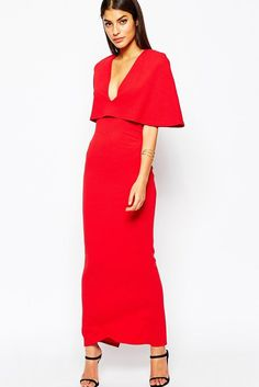 Red Cape Maxi Dress MAVERLLY