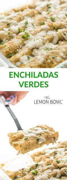 mexican recipes with chicken Made with white corn tortillas, poached chicken breasts and a light coating of queso fresco, this dish is satisfying but wont weigh you down. Enchiladas Vegetarianas, Enchiladas Verdes Recipe, Chicken Enchiladas Verde, Chicken Verde, Vegetarian Enchiladas, Mexican Enchiladas, Mexican Dishes, Mexican Food Recipes, Ethnic Recipes