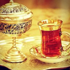 True Persian tea served with cube sugar.