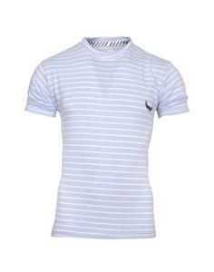 Avenster Blue With White Striped Men's Round Neck T-Shirt
