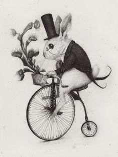 Delivery Rabbit Art Print by Audrey Benjaminsen Art And Illustration, Rabbit Illustration, Steampunk Illustration, Rabbit Art, Bunny Art, Art Graphique, Geeks, Alice In Wonderland, Illustrators