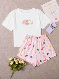 Contrast Binding Slogan Graphic PJ Set | SHEIN USA Cute Pajama Sets, Cute Pjs, Cute Pajamas, Cute Lazy Outfits, Girly Outfits, Kpop Fashion Outfits, Girls Fashion Clothes, Pijamas Women, Cute Sleepwear