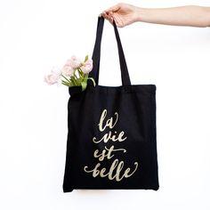 La Vie Est Belle Black Canvas Tote Bag