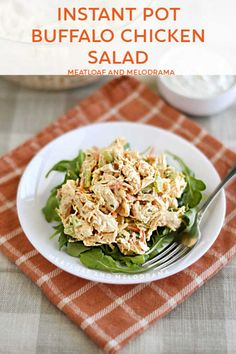 Instant Pot Buffalo Chicken Salad made with pressure cooker chicken breasts is cool crunchy creamy and slightly spicy. Perfect for sandwiches and wraps! Chicken Salad With Apples, Chicken Salad Recipes, Rice Recipes, Dinner Recipes, Healthy Meatloaf, Meatloaf Recipes, Pressure Cooker Chicken, Pressure Cooker Recipes, Pressure Cooking