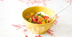 Yogurt with Fresh Fruit, Honey & Basil