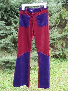 Vintage 70's Mod Hippie Purple Burgundy Bell Bottom Pants Velvet | eBay