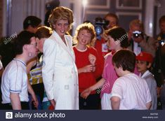Princess Diana Princess of Wales December 1993 talking to handicapped children in Scotland