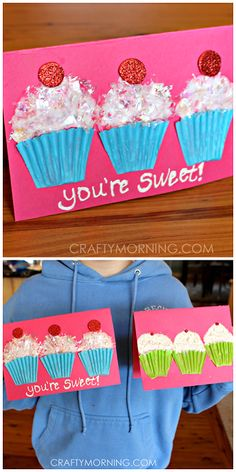 """Cupcake liner valentines craft/card for kids to make! """"You're Sweet!"""" 