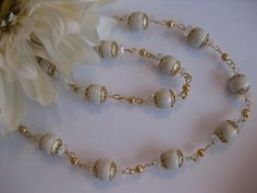 Cyber Monday Etsy Pearl Necklace set Cream by JewelryMakerCharlene, $36.00