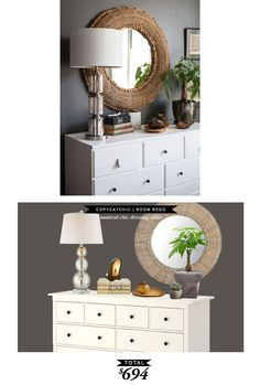 A chic dresser vignette with a hint of nautical via @lonnymag and recreated by @lindseyboyer for Copy Cat Chic #roomredo
