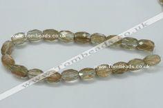 Faceted egg-shaped natural gold sand quartz gemstone beads