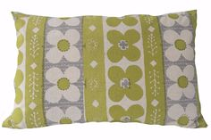 Flora ll cushion lime and pale grey. Printed Cushions, Flora, Lime, Throw Pillows, Quilts, Blanket, Grey, Gray, Lima