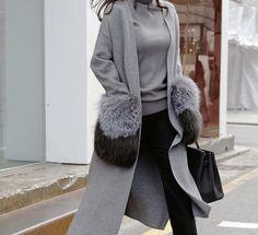 Real Fox Fur Pocket Cardigan Cashmere Cardigan Gray by Hawwh