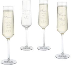 Personalised glass champagne flutes for your bridal party, a cute keepsake from the big day to!