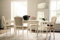 """""""Provencale"""" extended dining table in ivory from Laura Ashley."""
