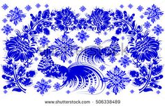 romantic painting winter Roosters snowflake Chinese calendar year of rooster flower blue silhouette vector eps10 folk art decorative painting ukrainian Ukraine style
