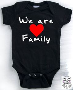 BABY GIFT for Lesbian Moms or Gay Dads - We Are Family Baby Creeper, Romper, Bodysuit. Water-based Inks, Soft Black Ringspun Cotton on Etsy, $18.00