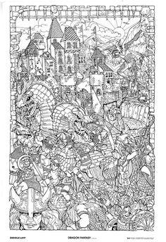 Dragon Abstract Doodle Zentangle Paisley Coloring pages colouring adult detailed advanced printable Kleuren voor volwassenen coloriage pour adulte anti-stress kleurplaat voor volwassenen