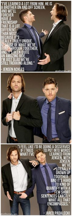 Quotes from Jared and Jensen at the TCA14 - This make me happy and sad at the same time. I'm happy because I love both of these guys so much and sad because I know one day Supernatural is going to end.<< NO.NEVER.NEVER.EVER.END.
