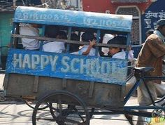 Mini school bus - India ,   And our students think they have it rough!