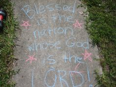 Fourth of July decorations outside -- idea for the kids to decorate the sidewalk for independence day.
