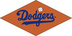 Brooklyn Dodgers Primary Logo (1957) - Dodgers script on a bronze diamond with a baseball