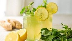 Ginger Lemonade with lemon basil. Could just buy lemonade and add fresh ginger and lemon basil Yummy Drinks, Healthy Drinks, Healthy Food, Healthy Eating, Thai Recipes, Healthy Recipes, Water Recipes, Diet Recipes, Homemade Ginger Ale
