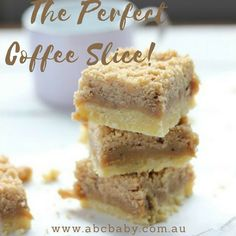 This slice is not just for coffee lovers, it is rich sweet and with 3 delicious layers it makes this slice a winner!This coffee slice is perfect to take along to a morning tea or as an afternoon treat. Be warned though it is hard to stop at one piece Coffe Recipes, My Recipes, Baking Recipes, Sweet Recipes, Dessert Recipes, Recipies, Baking Ideas, No Bake Treats, Yummy Treats