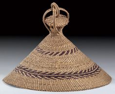 Africa | Hat ~ 'Khaebana' ~ from the Sotho people of Lesotho | Natural raffia | These types of hats are worn by men.