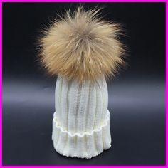 2016 Fashion Children Winter Raccoon Fur Hats 100% Real 15cm Fur pompom Beanies Cap Natural Fur Hat For Kids Children ** For more information, visit image link.