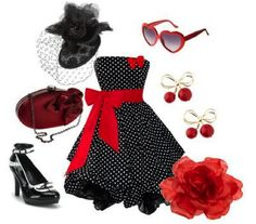 rockabilly scratch the glasses and shoes for sure. But the dress - definitely! Moda Rockabilly, Rockabilly Wedding, Rockabilly Fashion, Retro Fashion, Vintage Fashion, Womens Fashion, Rockabilly Style, Rockabilly Dresses, Rockabilly Clothing