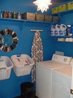 Blue laundry room makeover #laundry #storage #organize