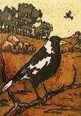 Margaret Preston magpie Margaret Preston, Margaret Rose, Vibrant Colors, Colours, Lino Prints, Australian Artists, Magpie, Beautiful Birds, Printmaking