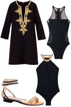 RESORTWEAR: Resort Ready - Luxe pieces in black and gold recall a Monegasque holiday or an escape to some decadent island. Channel opulence in your travels with an embellished noir swimsuit or an embroidered caftan worn with a simple gilded sandal. Michael Kors dress, T by Alexander Wang swimsuit, Michael Kors maillot, Fendi sandal.