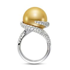 Golden Ribbon Pearl Cocktail Ring