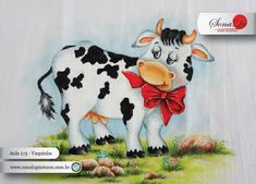 Sonalu Pinturas Painting Patterns, Fabric Painting, Cow Pattern, Cute Cows, Farm Animals, Painted Rocks, Folk Art, Decoupage, Moose Art