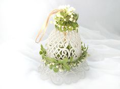 Vintage Wedding Bell Decoration White Plastic Lattice Green Mistletoe Leaves White Wedding Decoration Plastic Bell to Hang by CollectionSelection