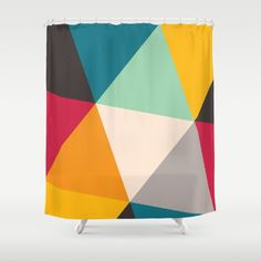 Buy Shower Curtains featuring Triangles by Gary Andrew Clarke. Made from easy care polyester our designer shower curtains are printed in the USA and feature a 12 button-hole top for simple hanging.