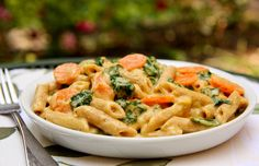 PASTA w/ KALE in LEMON-CASHEW SAUCE This Vegan-friendly recipe for delicious, creamy pasta sauce doesn't use milk or cheese, but instead uses cashews for the creamy texture.