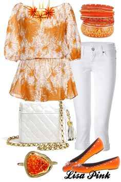 """Orange and White, what a delight!!!!!!"" by lichiep on Polyvore"