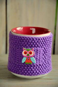 Knitted tea mug cozy Tea cup cozy with owl by HandiCraftbyJane